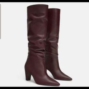 Zara Burgundy Wine Tall Slouchy Leather Boots 40